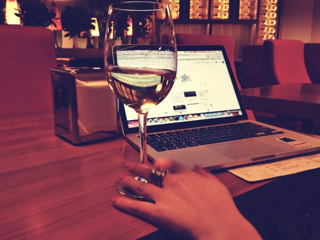 blog post woman with wine